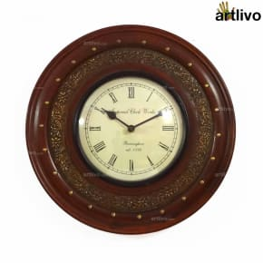 "Brown Wall Clock 12"""