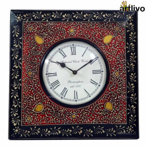 BOLD RED Square Wall Clock