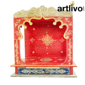 Artlivo Bold Red Wooden Temple with drawer - MN017