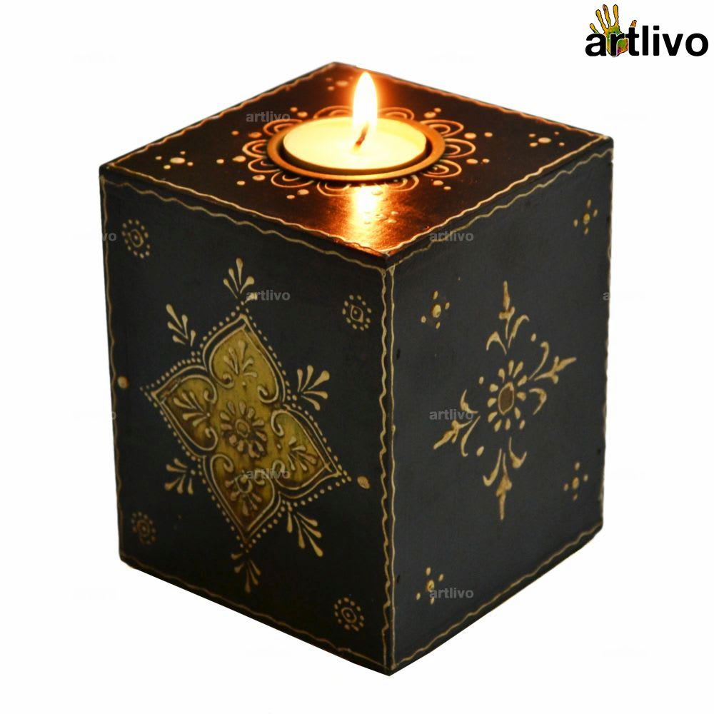 EMBOSSED Black Cube Candle