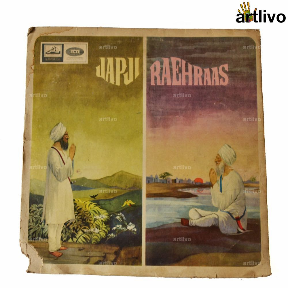 VINTAGE Gramophone Record - Japji and Raehraas (With Cover)