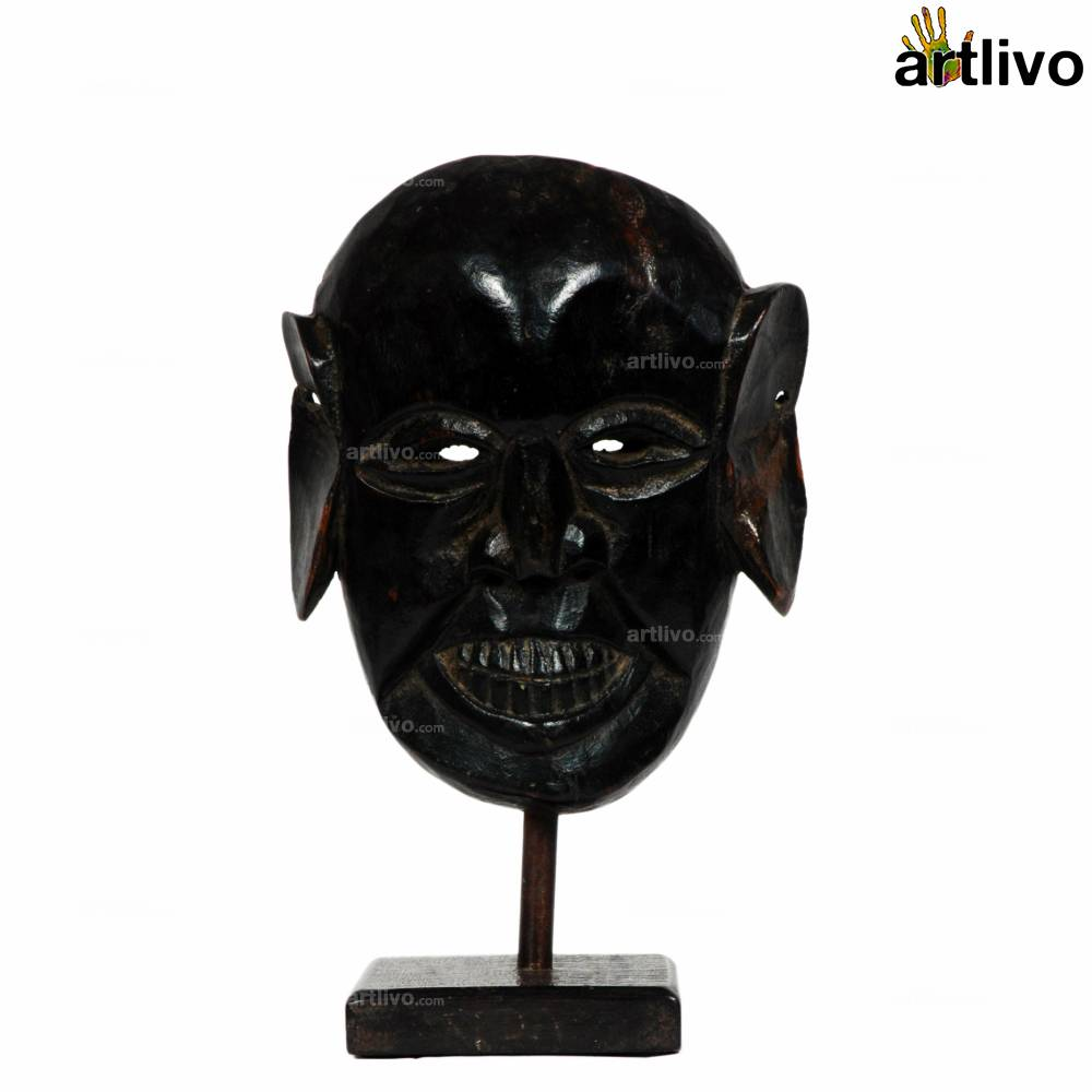 VINTAGE Wooden Tribal Mask on Stand - MA003