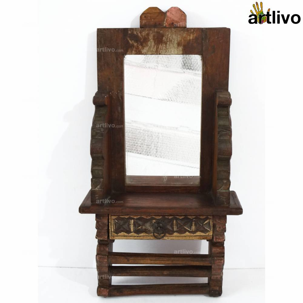 VINTAGE Wooden Shringaar Wall Mirror