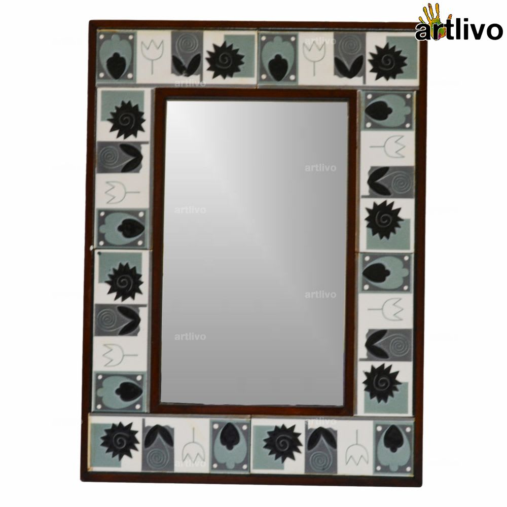 22 Inches Black n White Handcrafted Wall Hanging Tile Mirror Frame