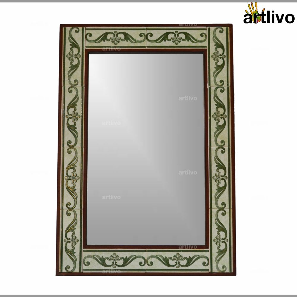 32 Inches Designer Handcrafted Wall Hanging Tile Mirror Frame