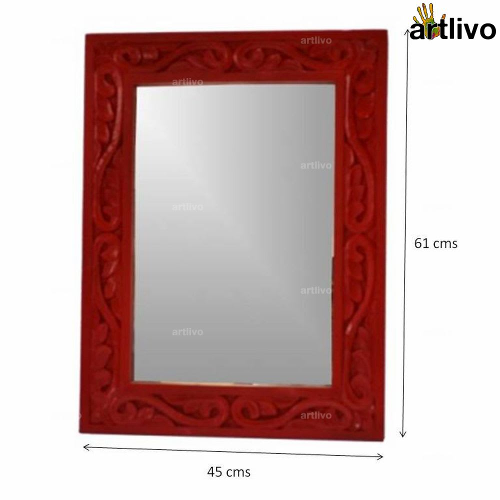 """24"""" Wooden Carved Red Mirror Frame"""