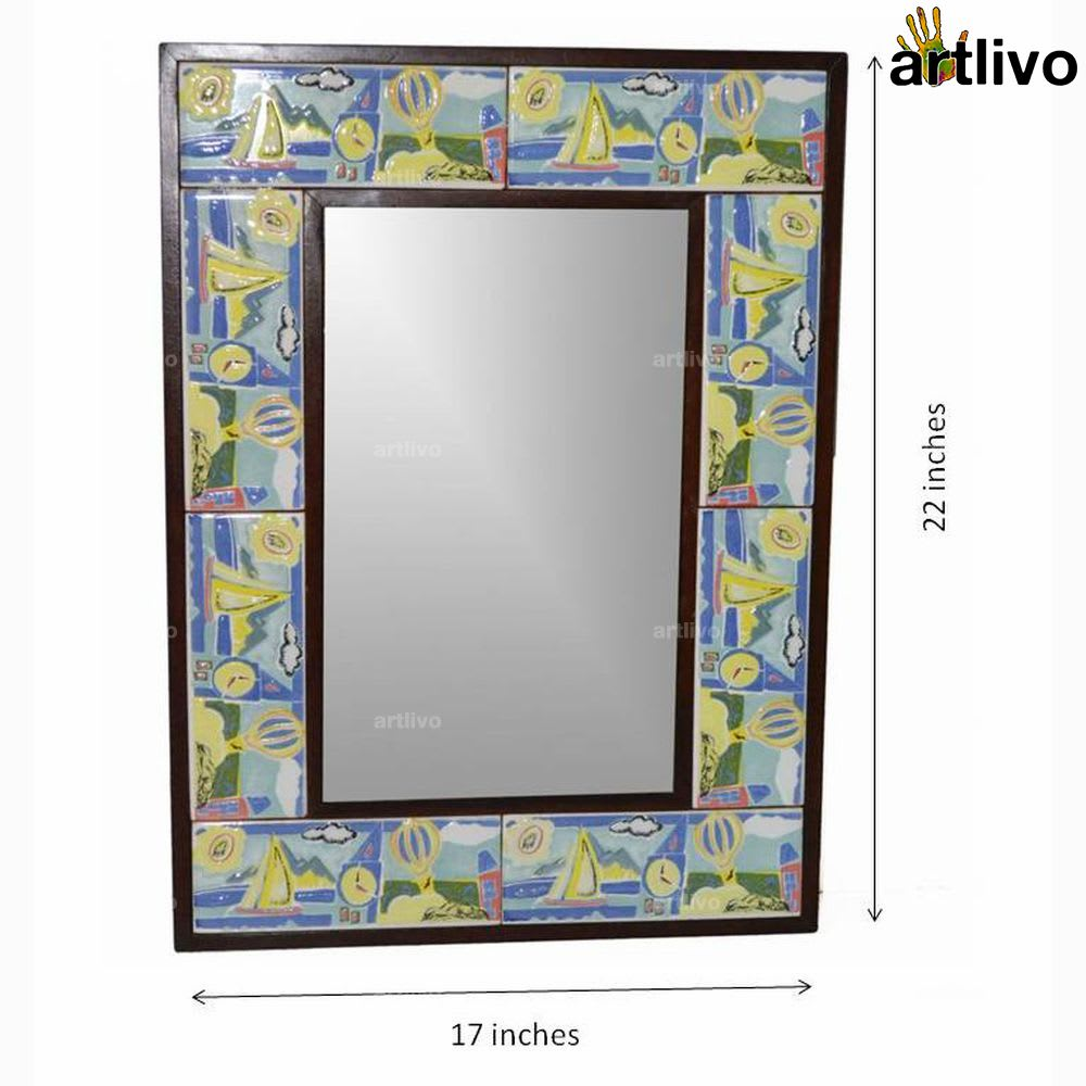 "22"" Decorative Bathroom Wall Hanging Tile Mirror Frame - MR067"