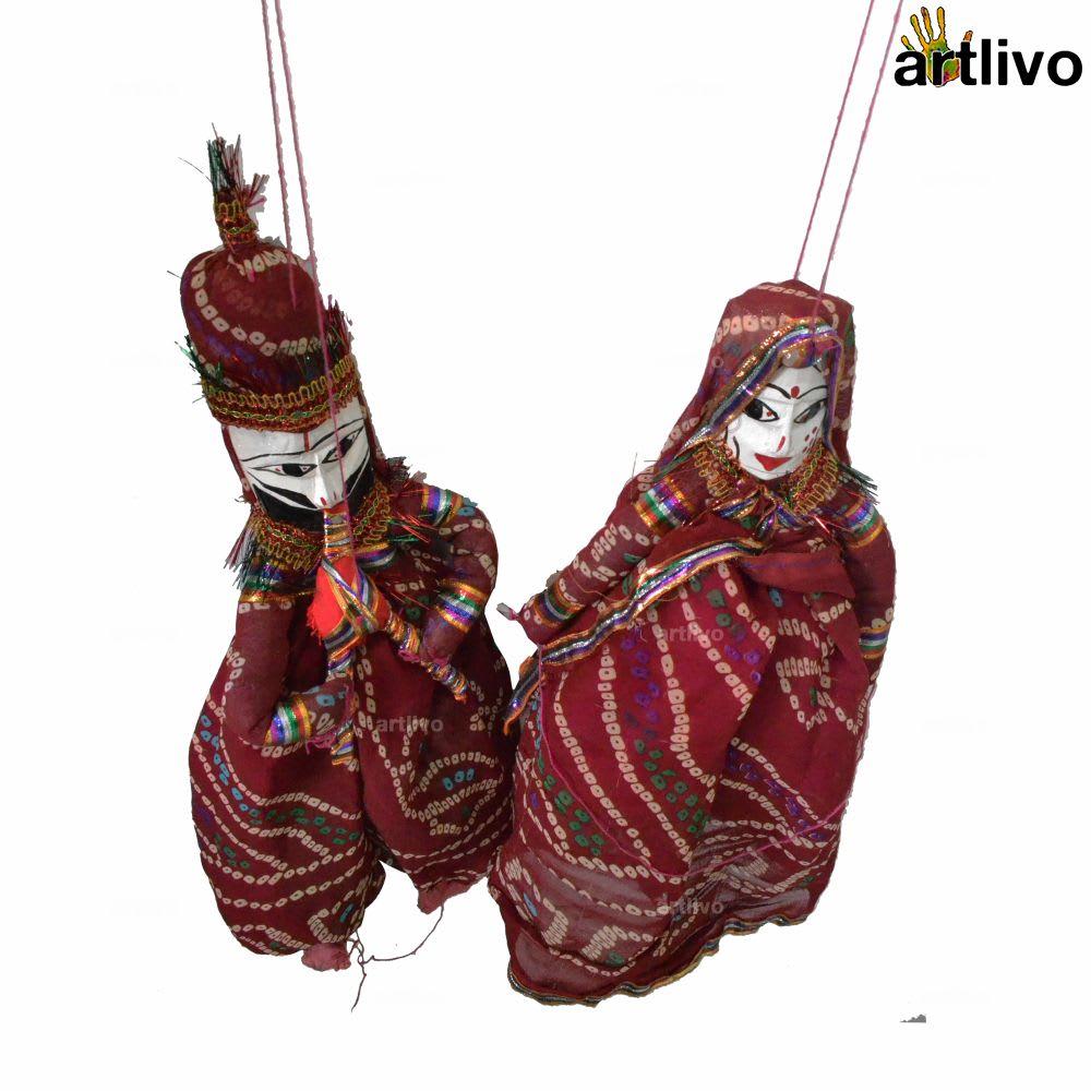 """POPART Maroon Chundri Kathputli Puppet Set 20"""""""