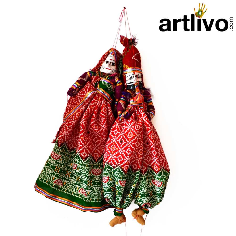 """POPART Red Chundari With Green Boder Kathputli Puppet 20"""""""