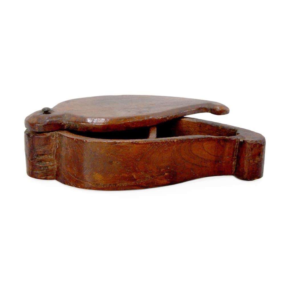 Vintage wooden spice box leaf style