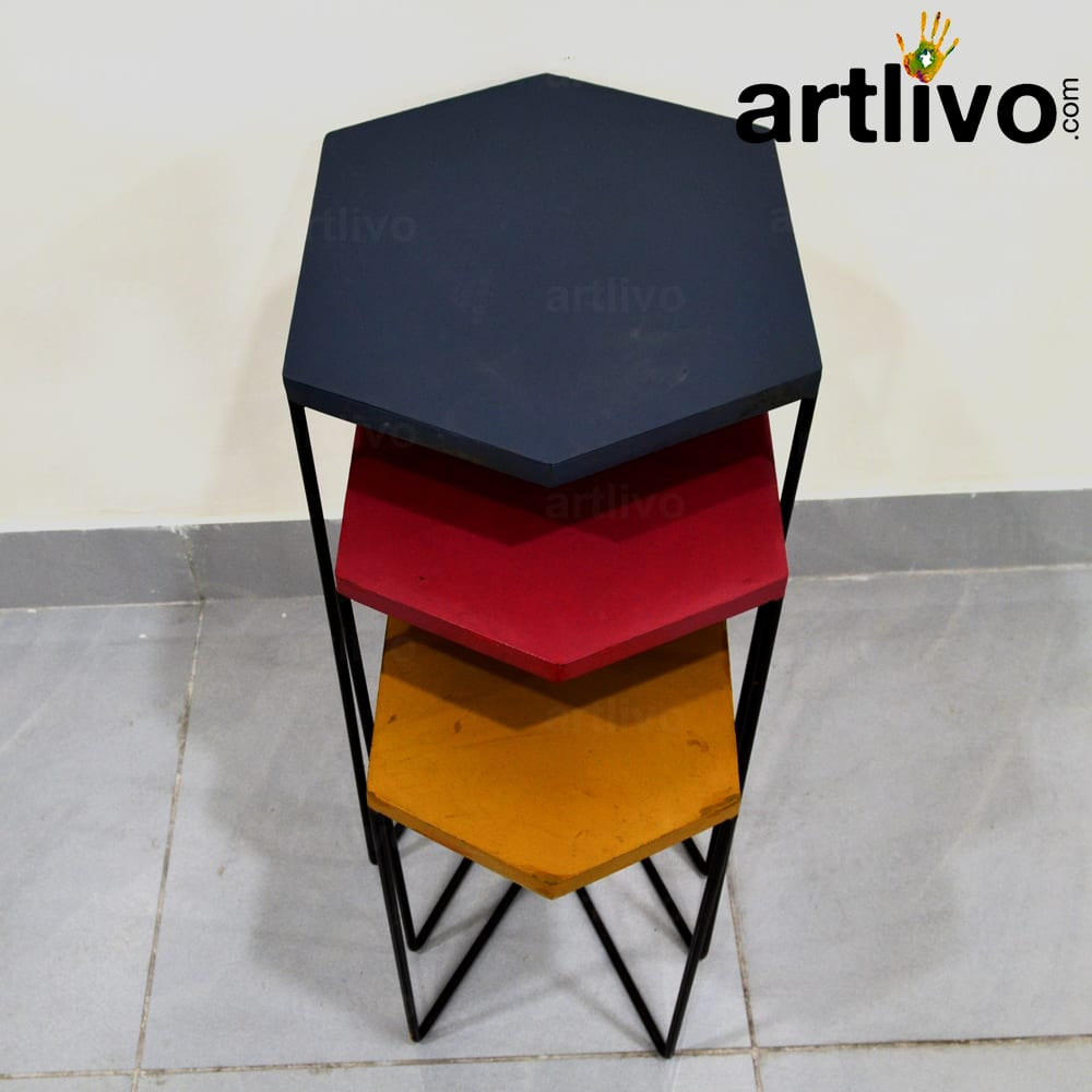 Popart Metal Nested Tables; Set Of 3