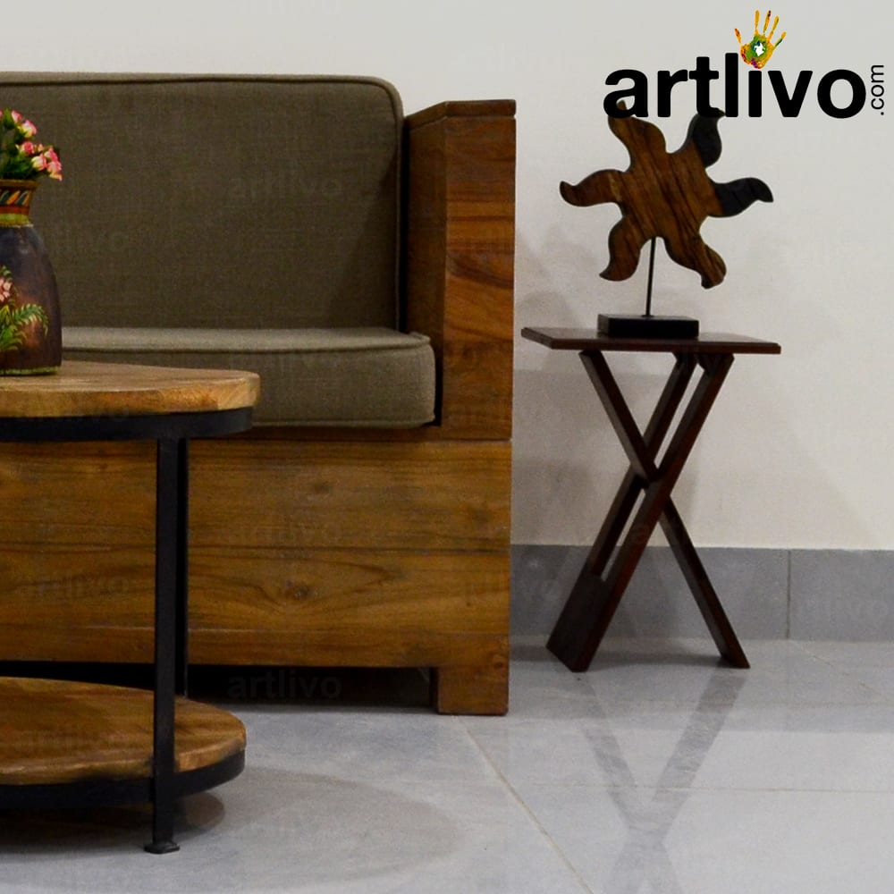 Wooden stool in cross