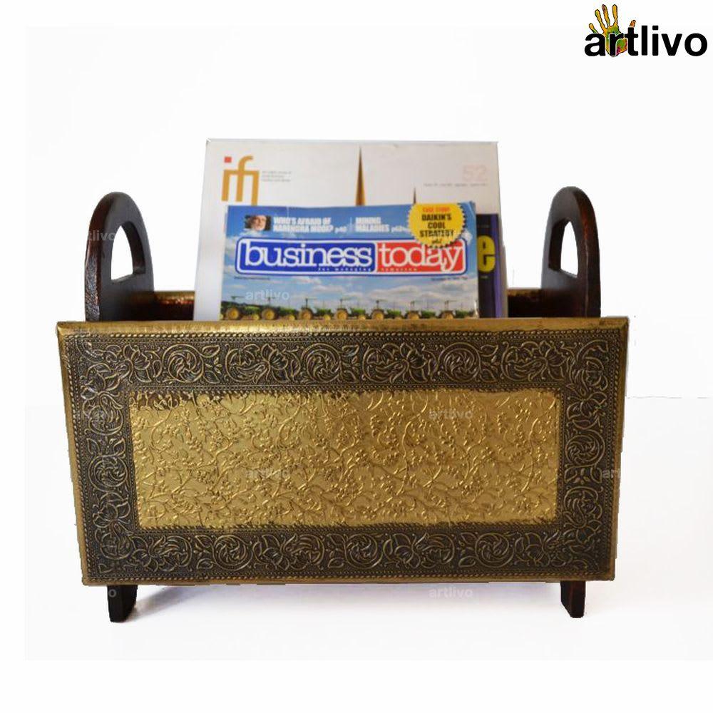 Brass Brown Folding Magazine Holder