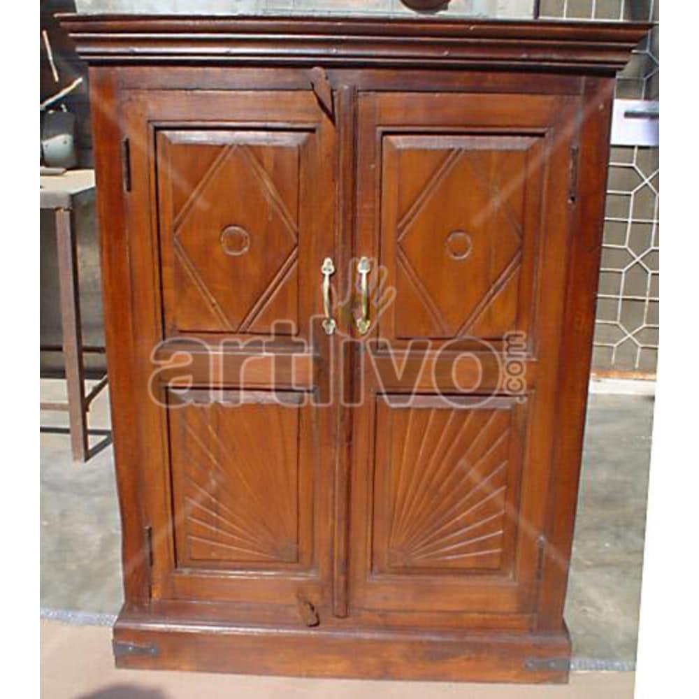 Vintage Indian Engraved Royal Solid Wooden Teak Almirah