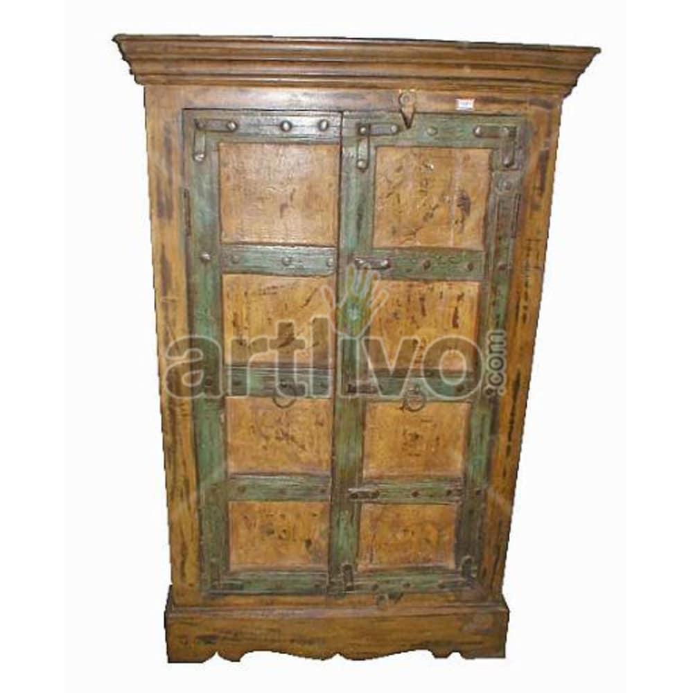 Antique Indian Carved Lavish Solid Wooden Teak Almirah