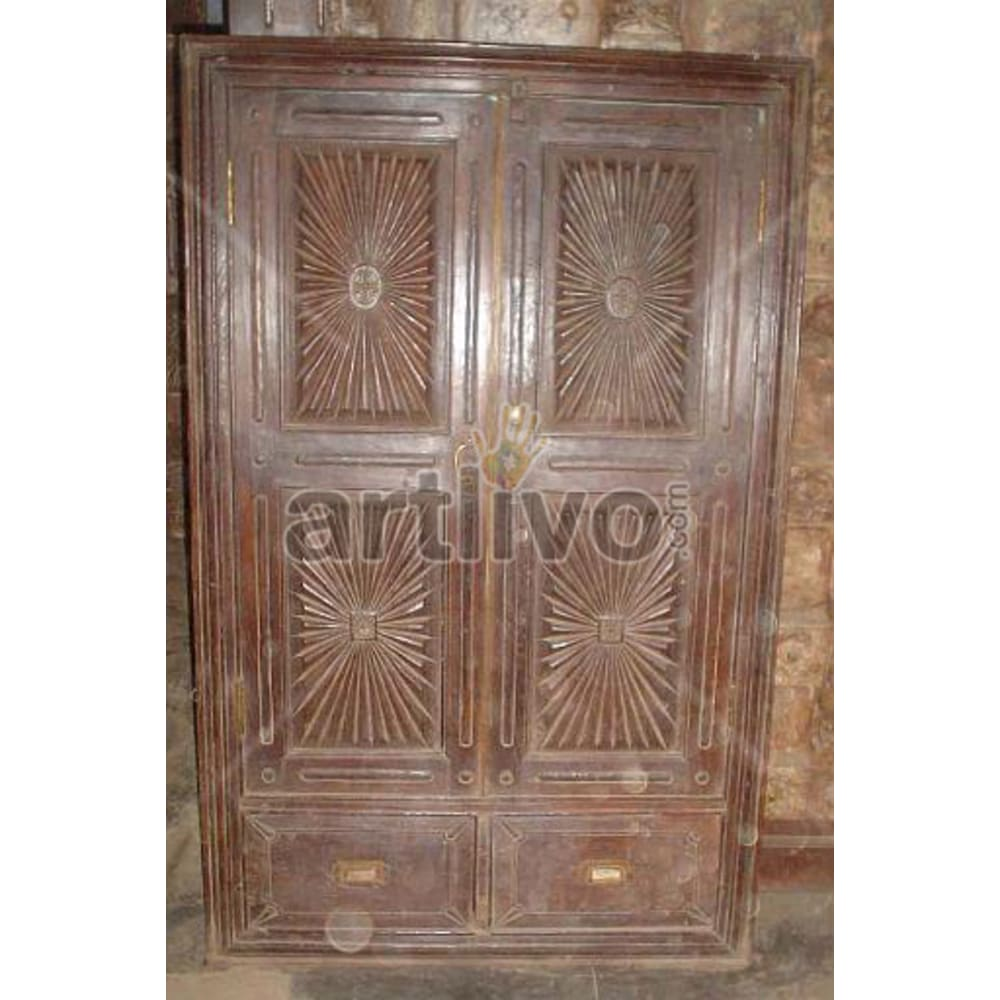 Antique Indian Chiselled imperial Solid Wooden Teak Almirah