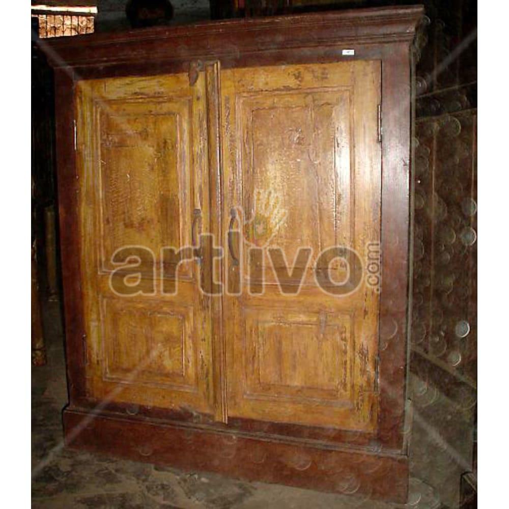 Antique Indian Chiselled Supreme Solid Wooden Teak Almirah