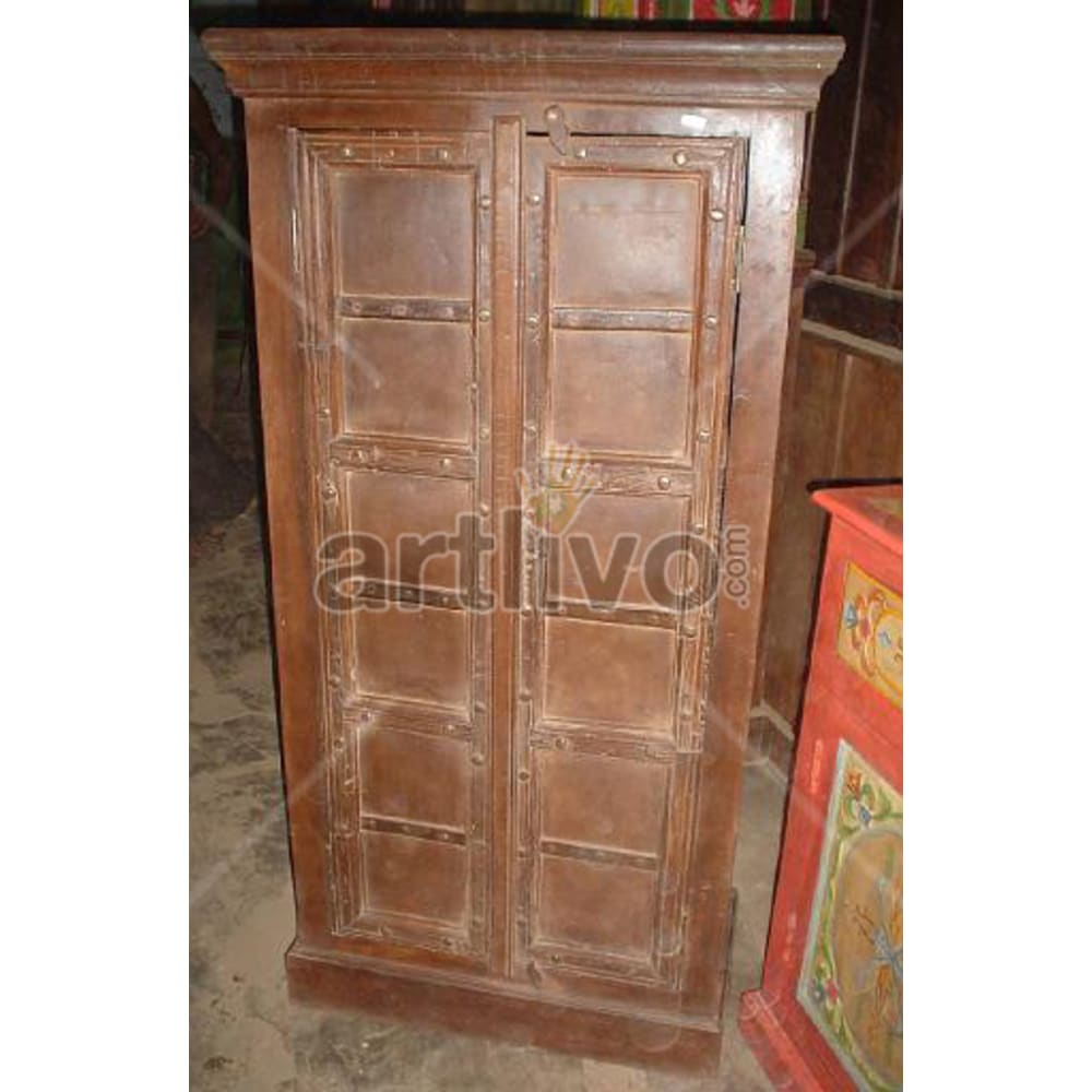 Antique Indian Chiselled Splendid Solid Wooden Teak Almirah