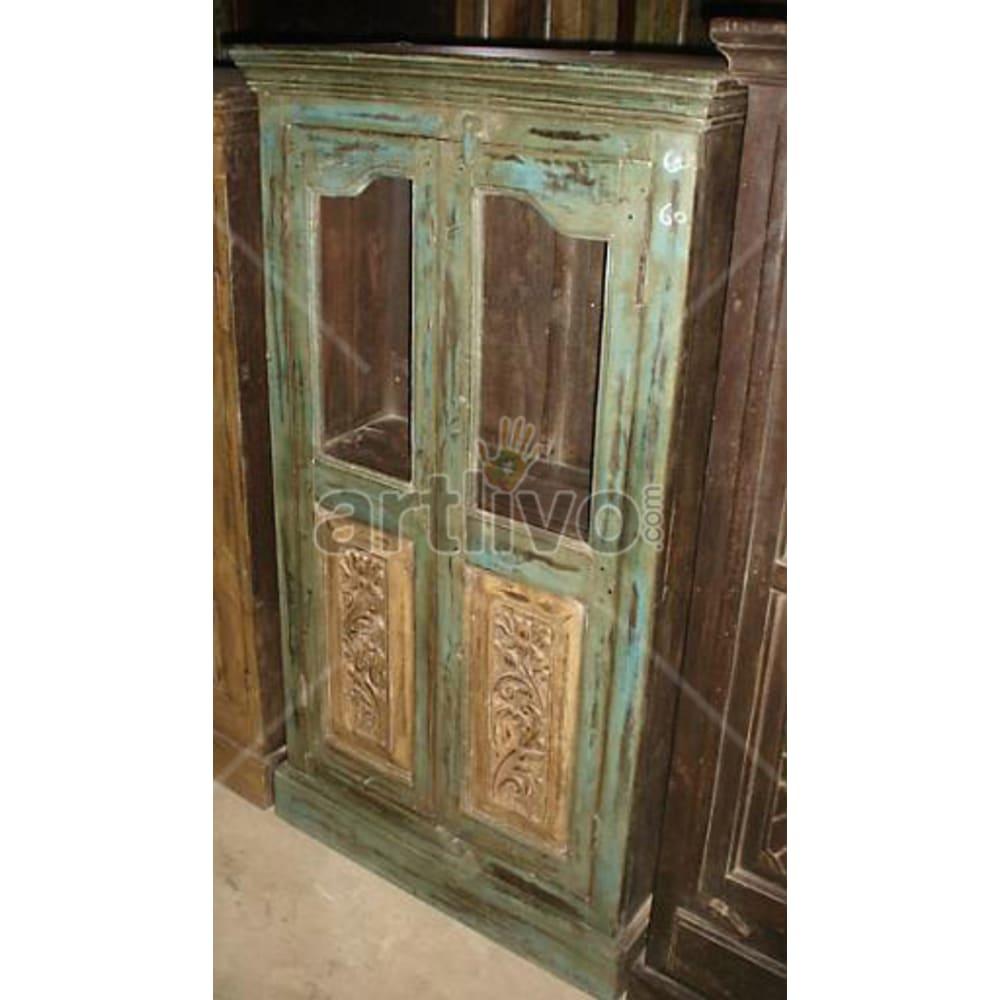 Antique Indian Sculpted Palatial Solid Wooden Teak Almirah