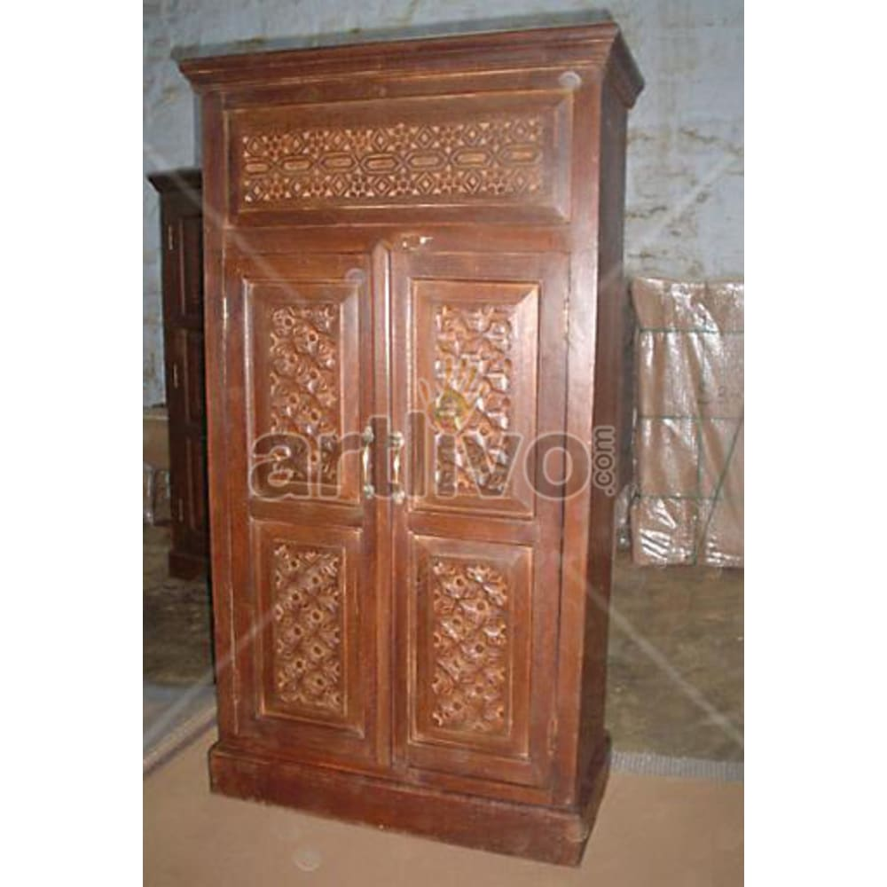 Old Indian Chiselled Opulent Solid Wooden Teak Almirah
