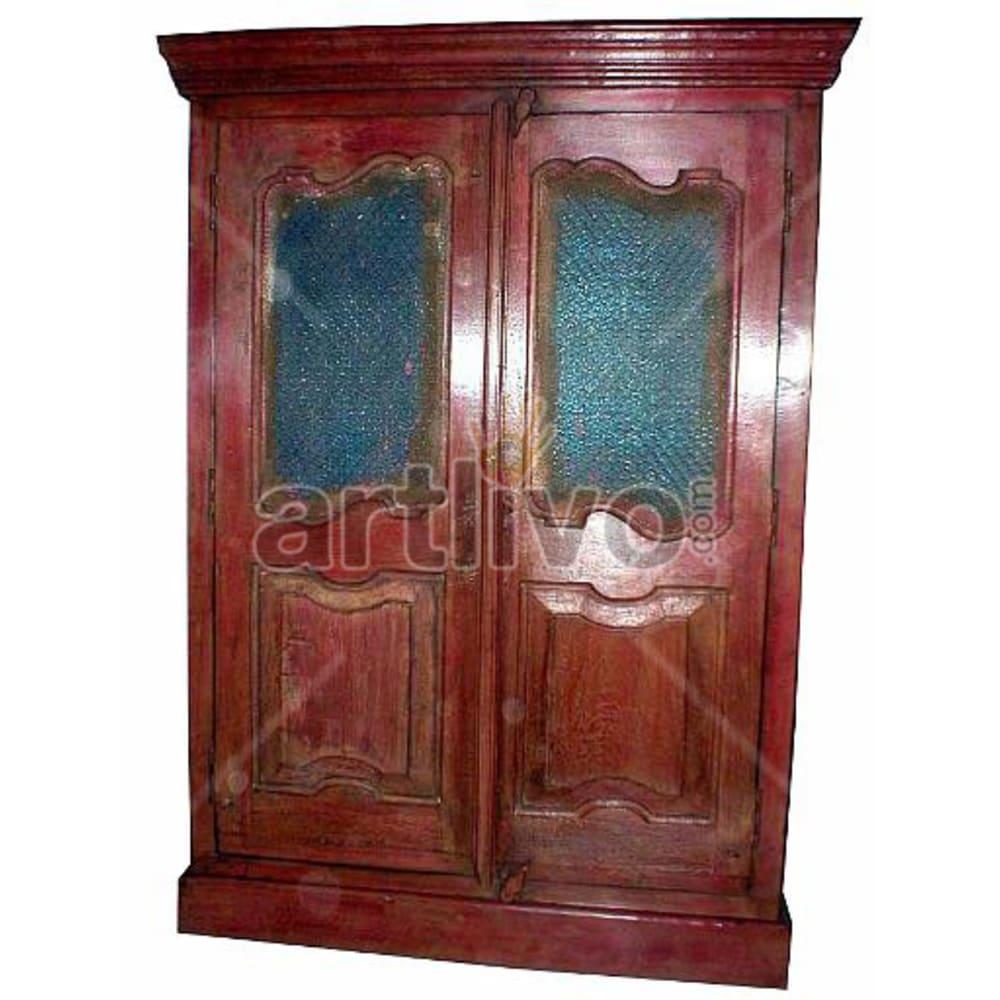 Old Indian Engraved Royal Solid Wooden Teak Almirah