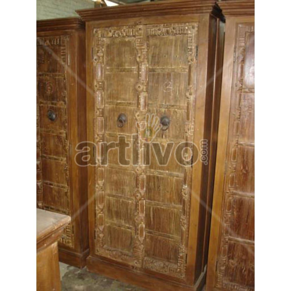 Old Indian Sculpted Opulent Solid Wooden Teak Almirah