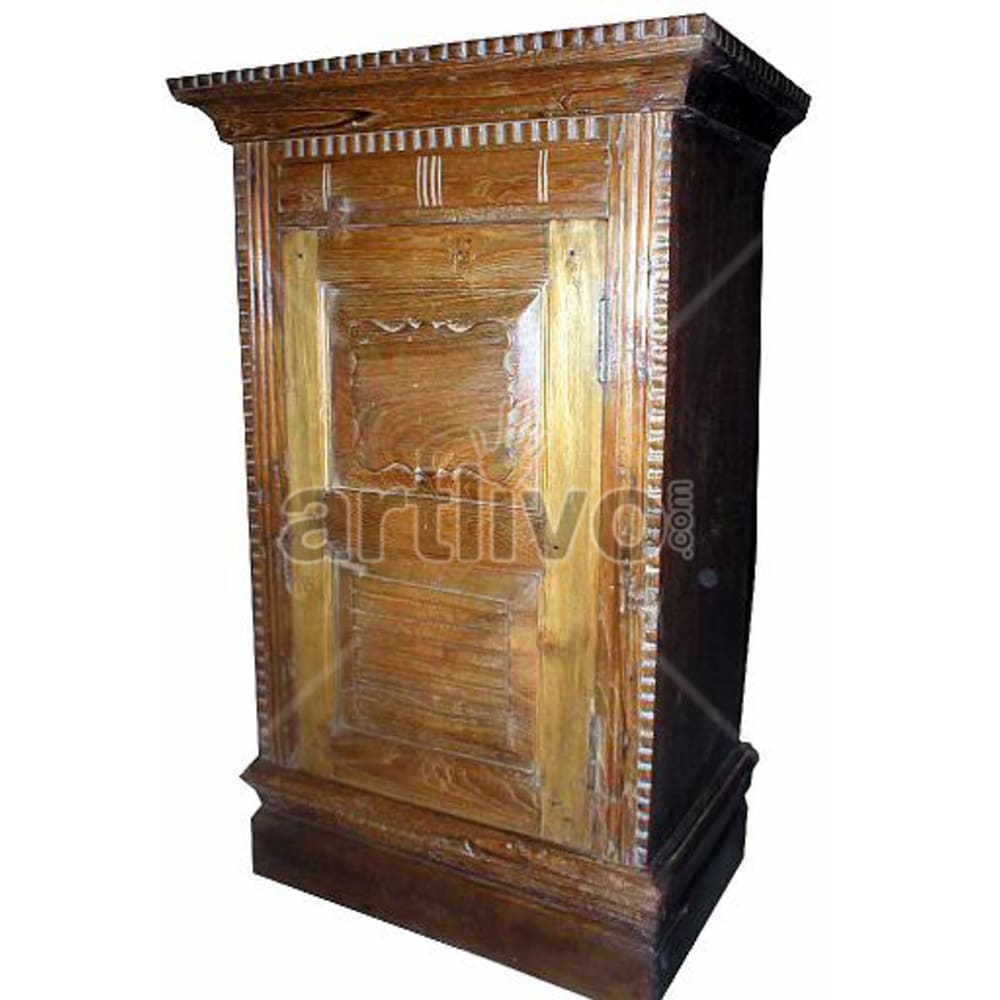 Old Indian Sculpted Royal Solid Wooden Teak Almirah