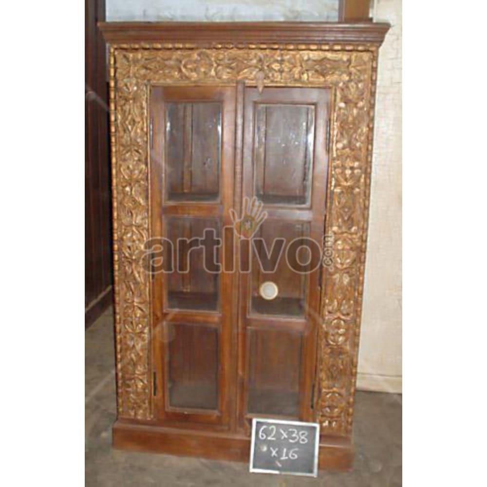 Old Indian Sculptured Extravagant Solid Wooden Teak Almirah
