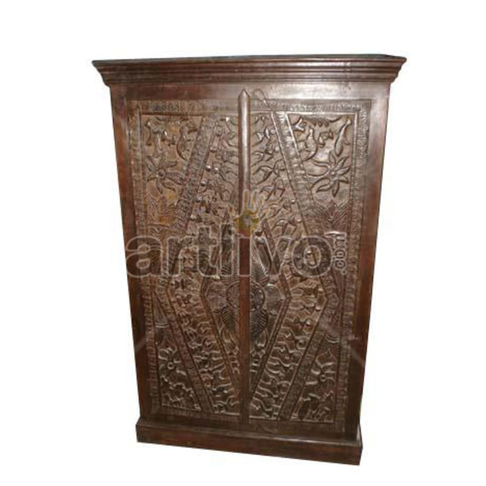 Old Indian Sculptured Luscious Solid Wooden Teak Almirah