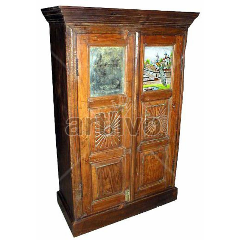 Old Indian Brown Extravagant Solid Wooden Teak Almirah