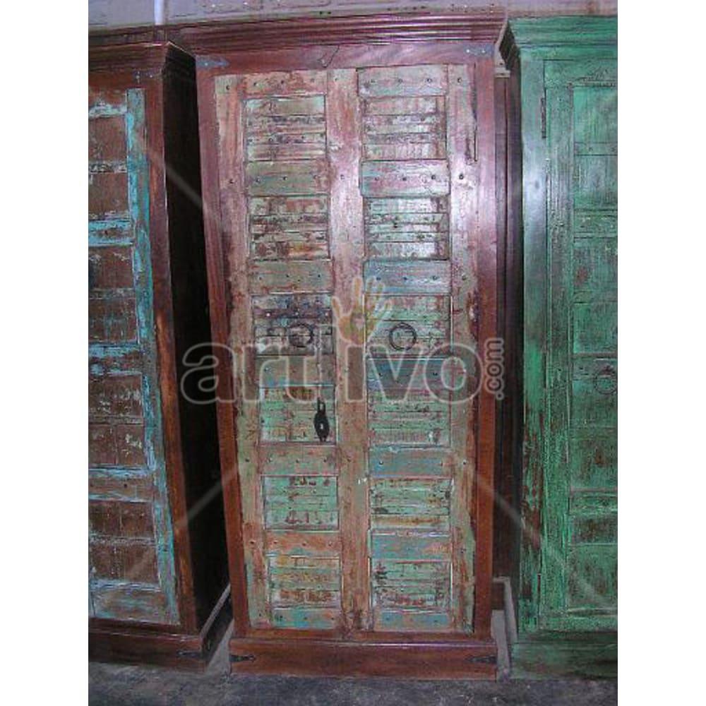 Restored Chiselled Deluxe Solid Wooden Teak Almirah