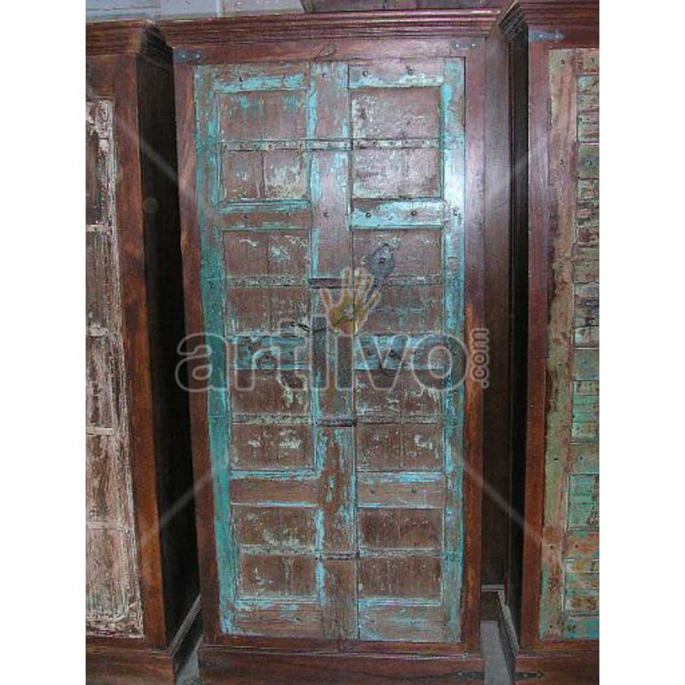 Restored Chiselled Extravagant Solid Wooden Teak Almirah