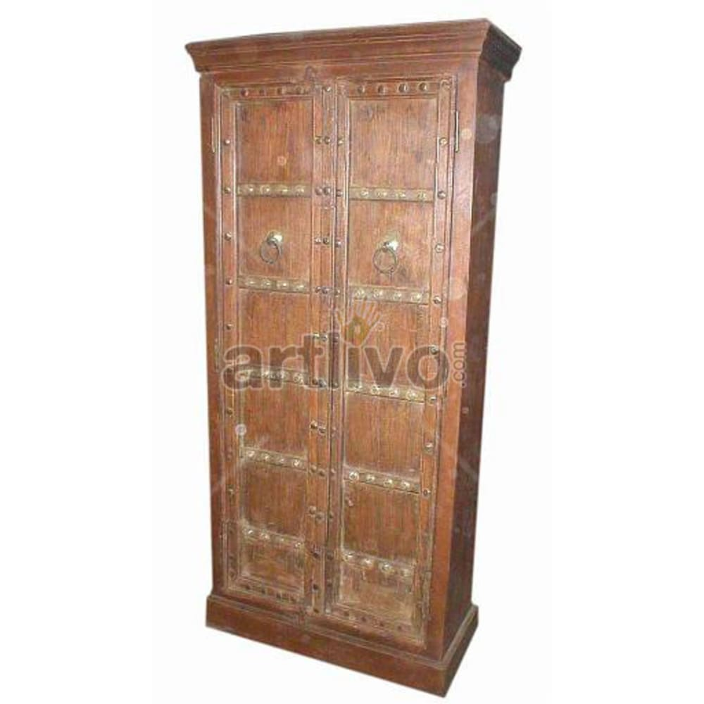 Restored Chiselled Ostentatious Solid Wooden Teak Almirah
