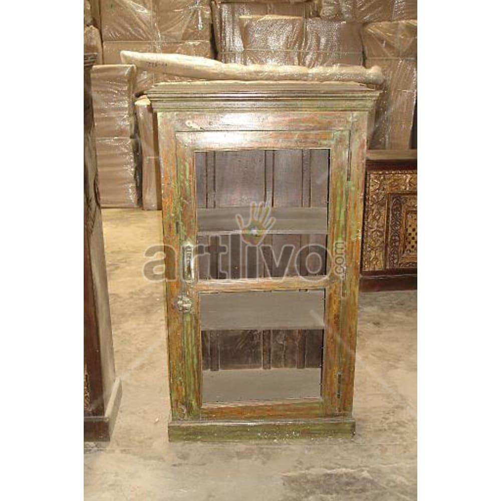 Restored Engraved Extravagant Solid Wooden Teak Almirah