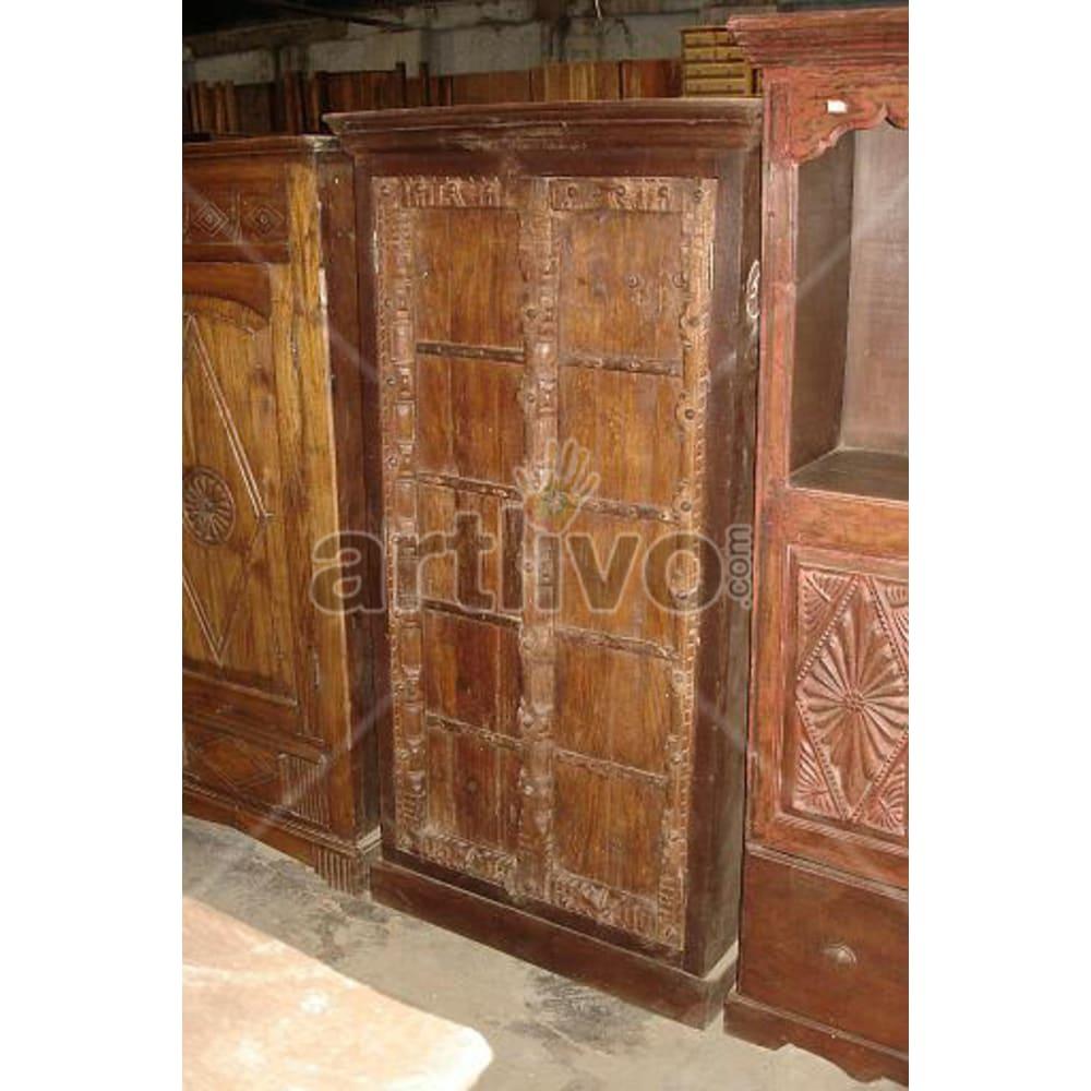 Restored Engraved illustrious Solid Wooden Teak Almirah