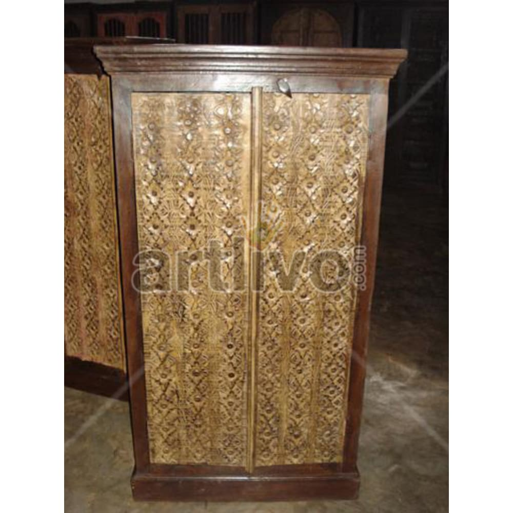 Restored Sculptured Palatial Solid Wooden Teak Almirah
