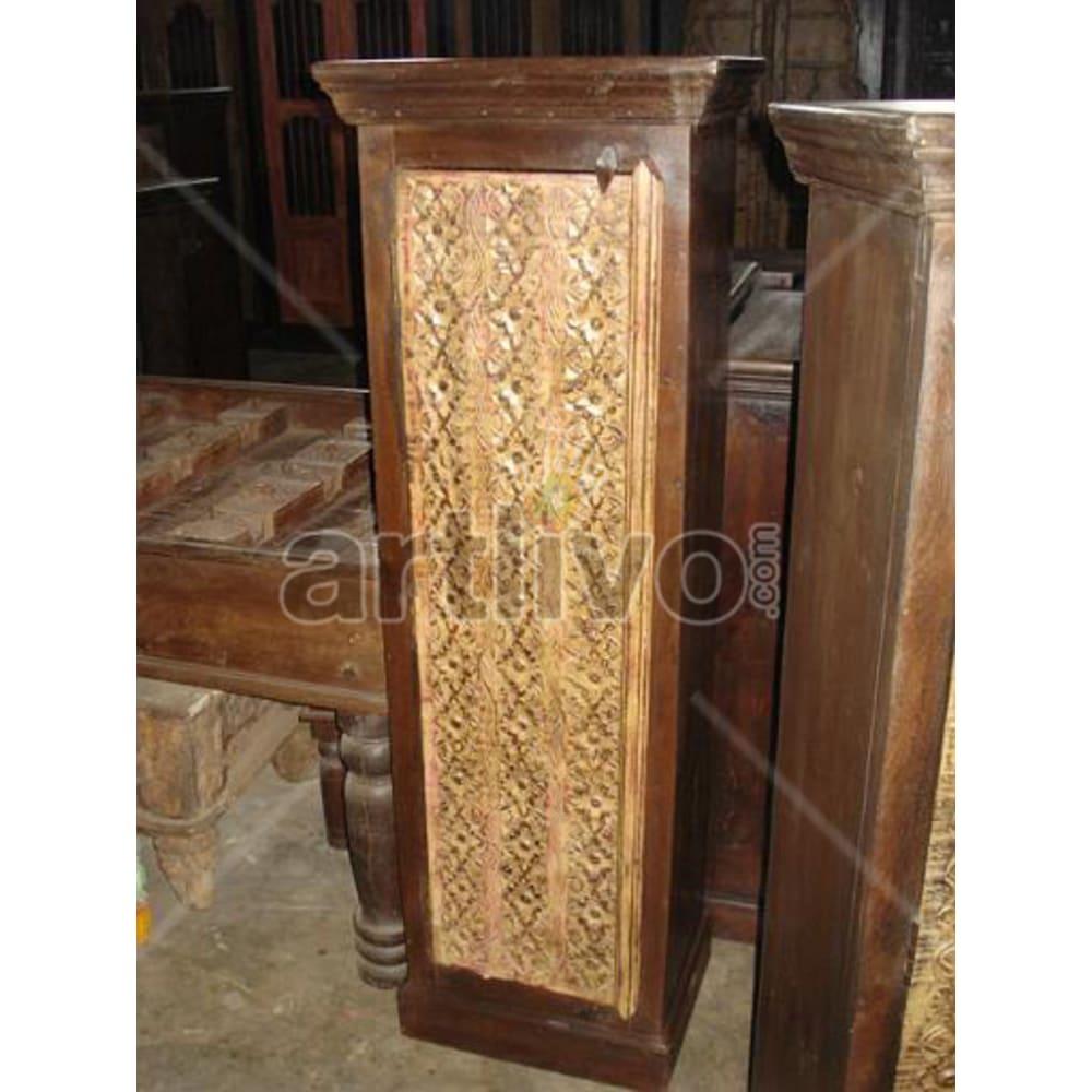 Restored Sculptured Plush Solid Wooden Teak Almirah