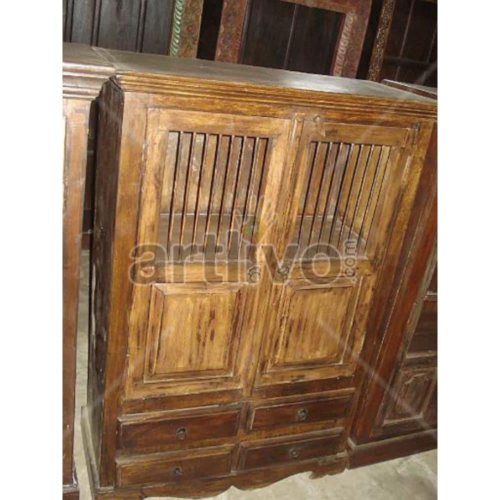 Restored Beautiful Plush Solid Wooden Teak Almirah