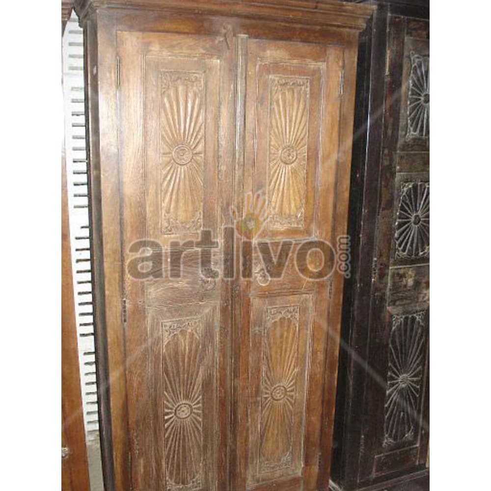 Restored Brown Deluxe Solid Wooden Teak Almirah