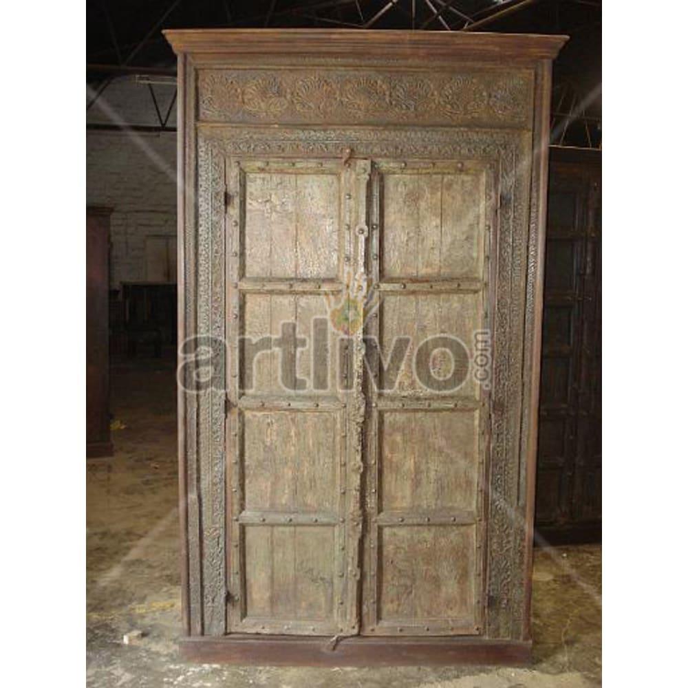 Restored Brown Palatial Solid Wooden Teak Almirah