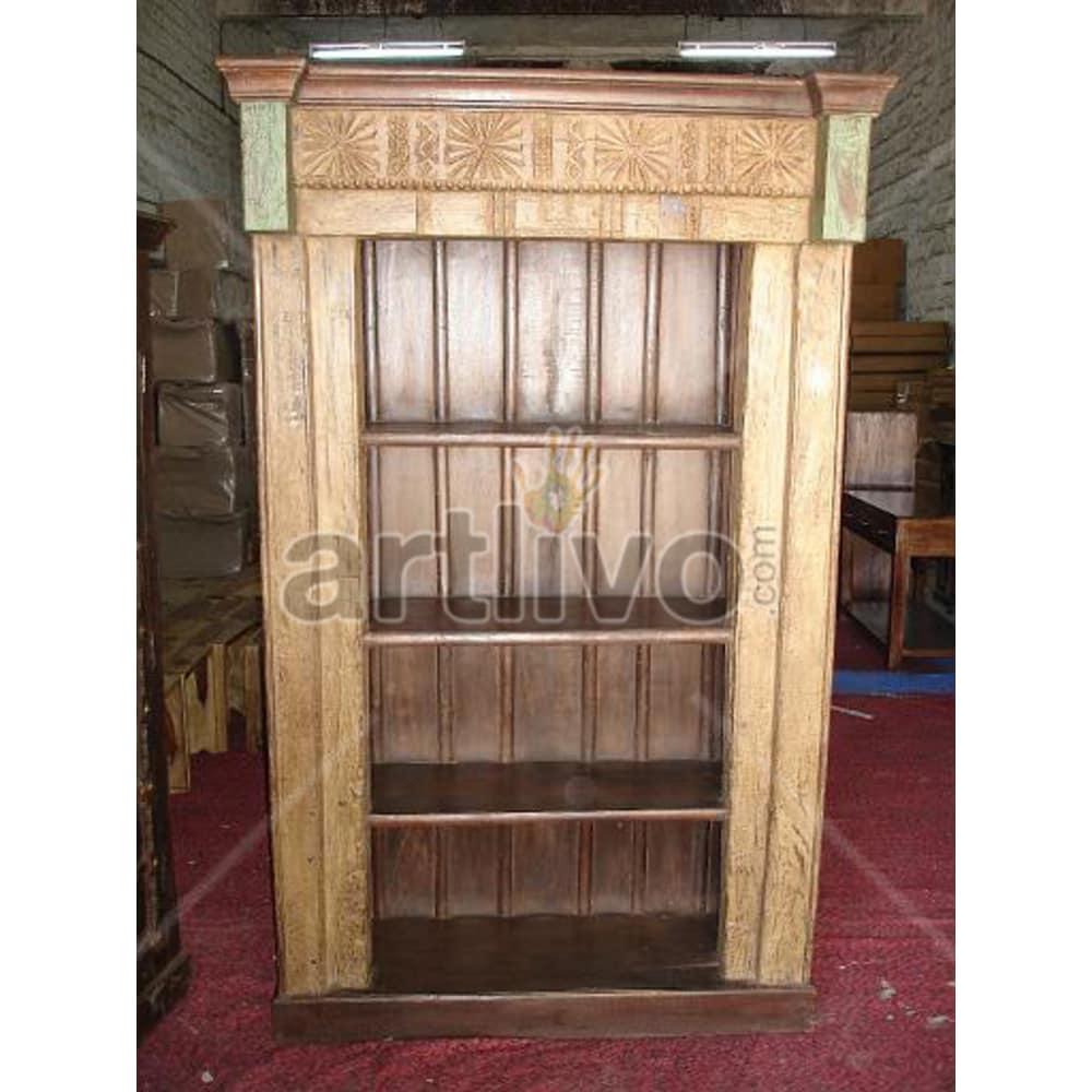 Vintage Indian Carved Magnificent Solid Wooden Teak Bookshelf