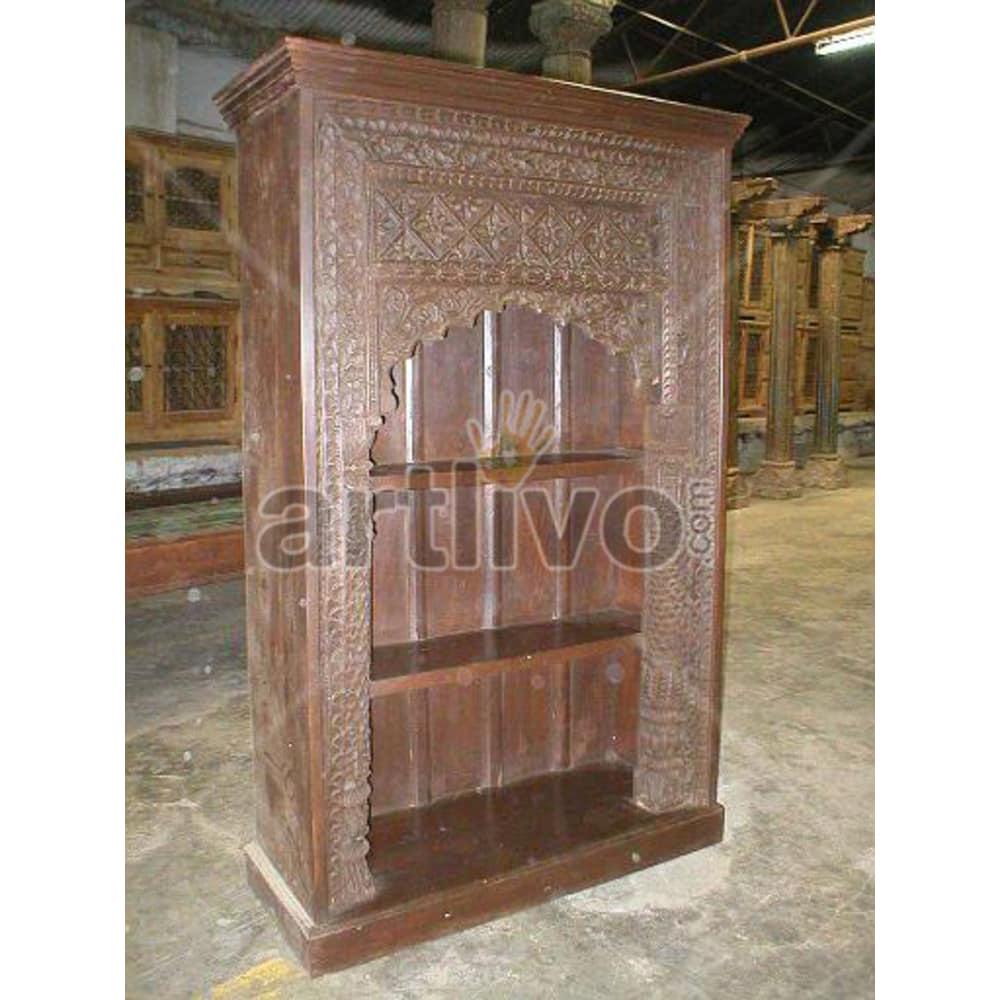 Vintage Indian Carved Noble Solid Wooden Teak Bookshelf