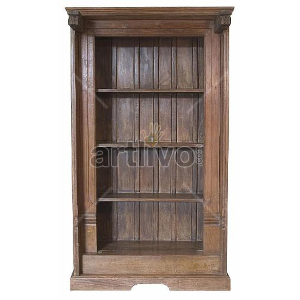 Vintage Indian Brown Plush Solid Wooden Teak Bookshelf