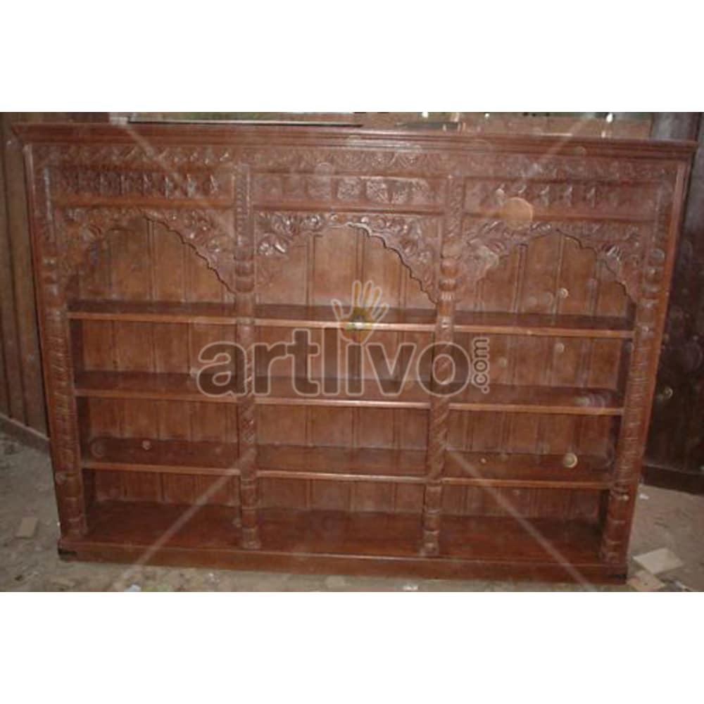 Vintage Indian Brown Noble Solid Wooden Teak Bookshelf