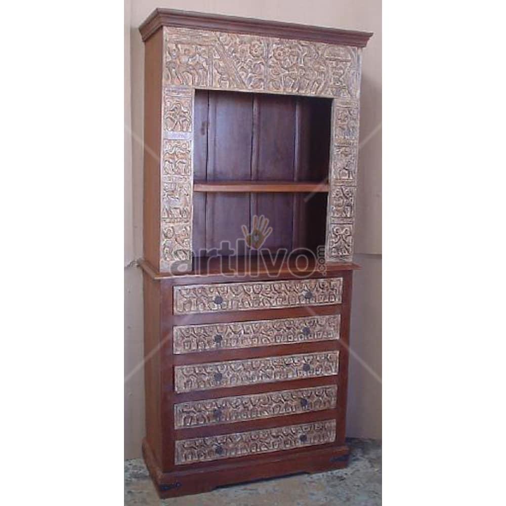 Vintage Indian Brown Marvellous Solid Wooden Teak Bookshelf