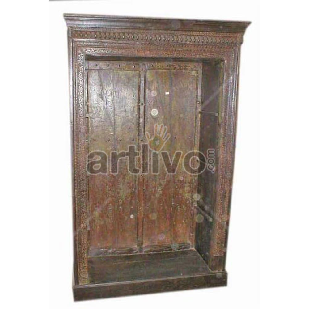 Vintage Indian Sculpted Extravagant Solid Wooden Teak Bookshelf