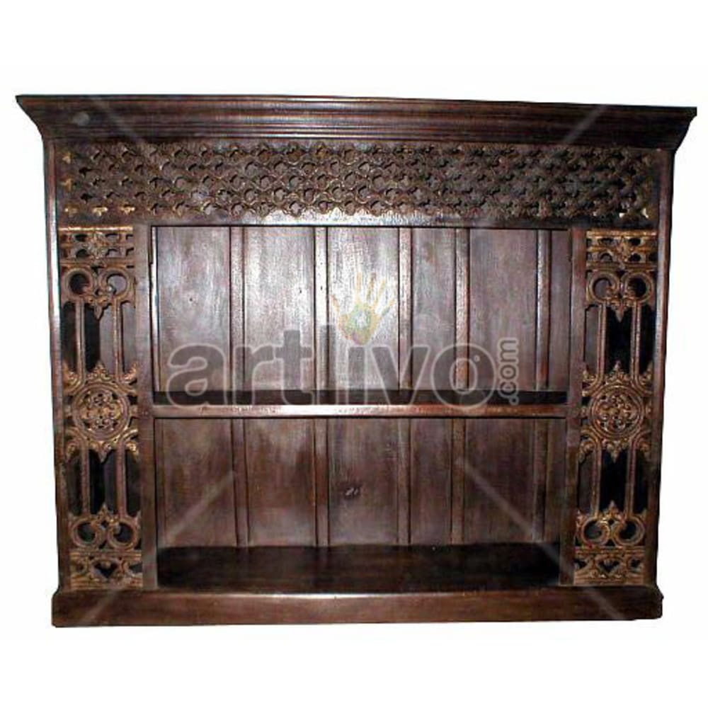 Antique Indian Brown Palatial Solid Wooden Teak Bookshelf