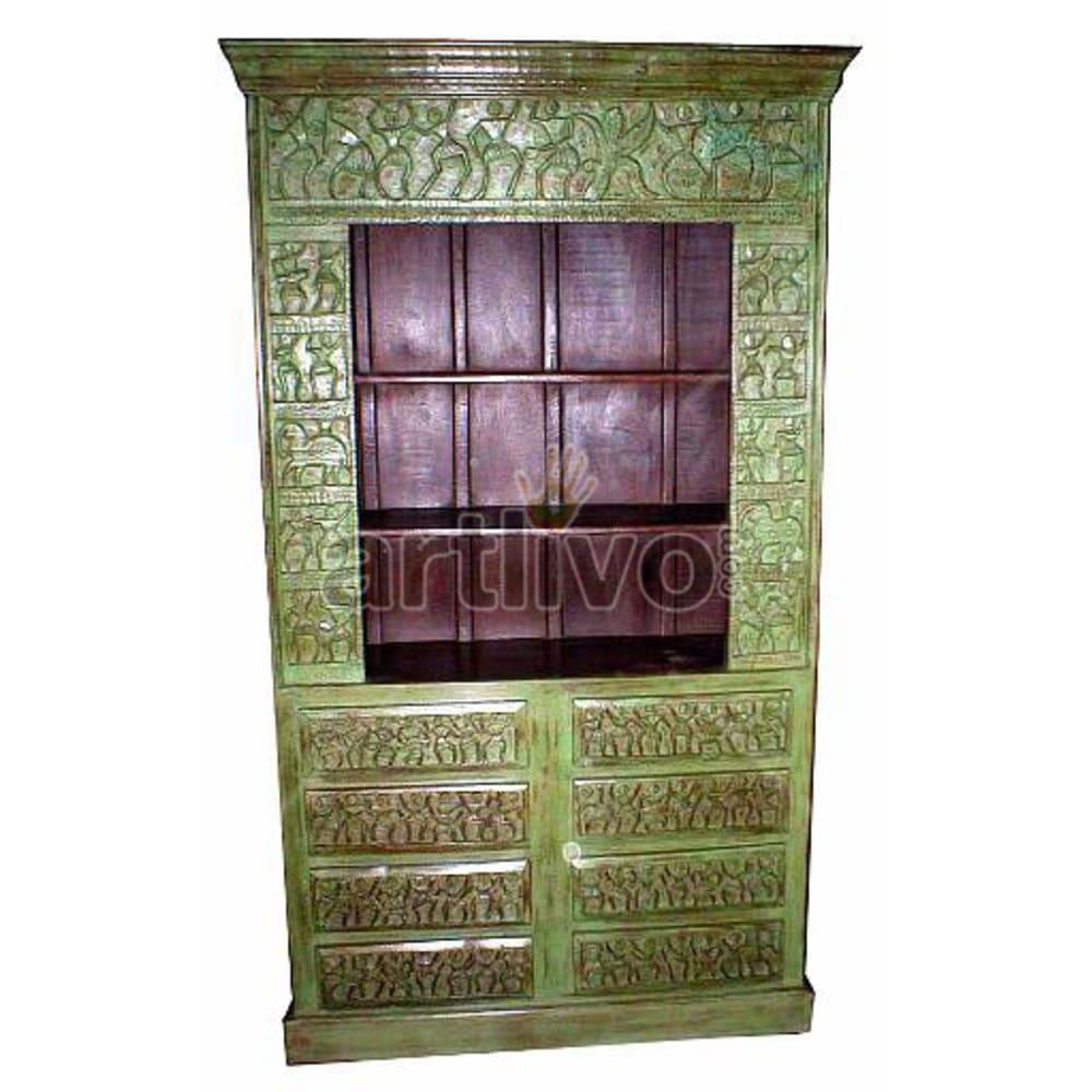 Antique Indian Brown Splendid Solid Wooden Teak Bookshelf