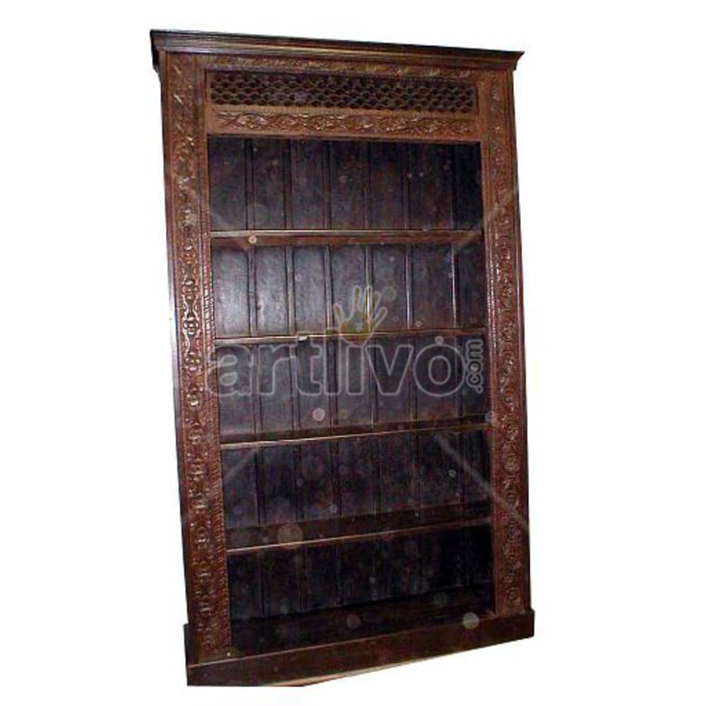 Antique Indian Chiselled Lavish Solid Wooden Teak Bookshelf