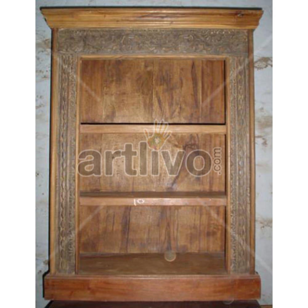 Antique Indian Chiselled Noble Solid Wooden Teak Bookshelf